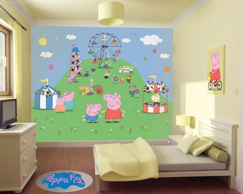 Habitaci n infantil tema peppa pig dormitorios colores y for Como pintar un mural infantil