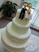 Bolo casamento rendado