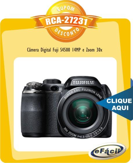 Cupom Efácil - Câmera Digital Fuji S4500 14MP Zoom 30x
