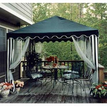 Insect Repelling Equipment And Supplies Hung From The Inside Ceiling  Brackets Of The Tent Can Provide Further Protection. A Temporary Patio Cover