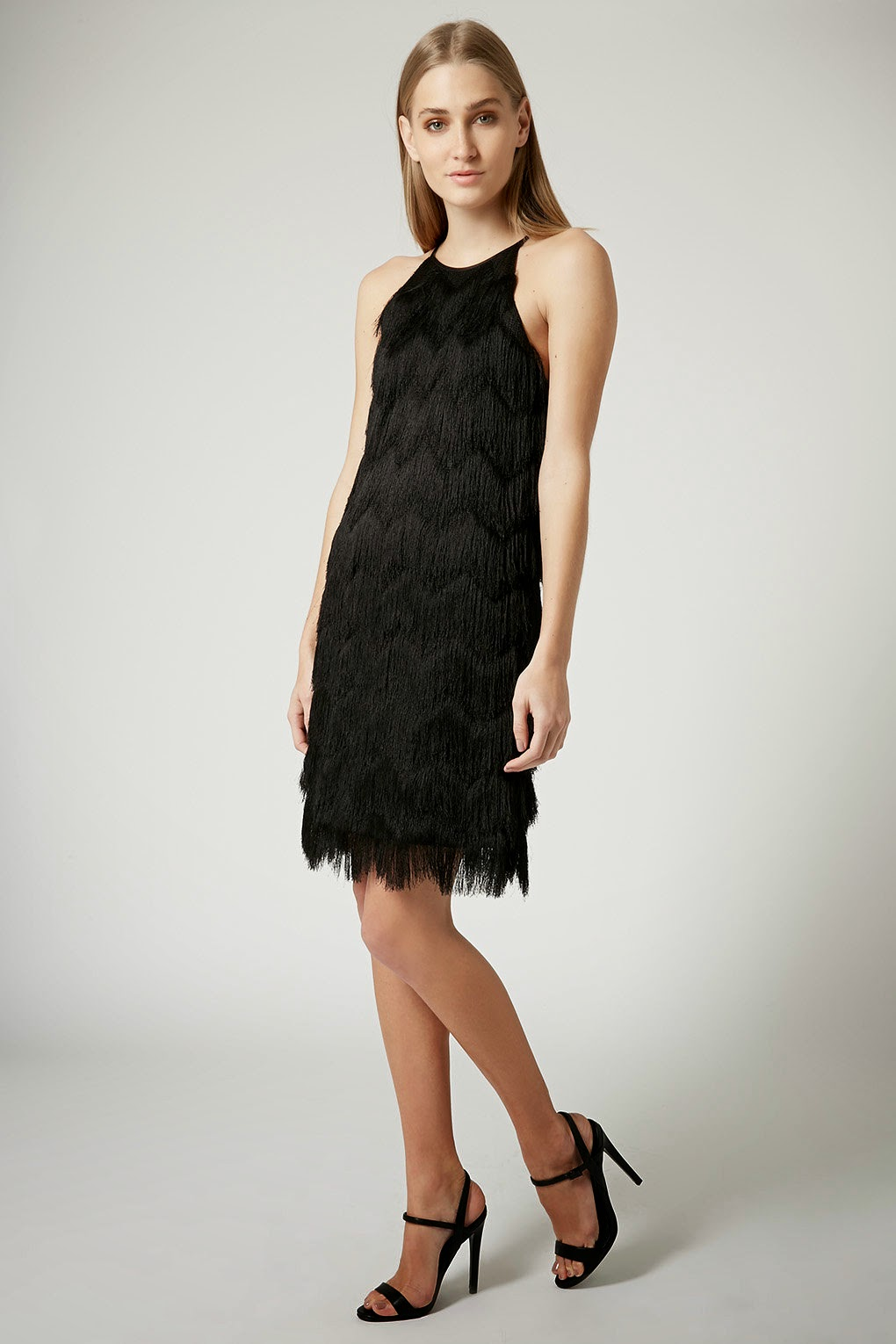 black tassel layer dress, black fringed layer dress, black flapper dress,