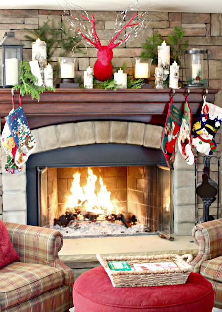 Corner Stone Fireplace with plaid chairs and birch logs-www.goldenboysandme.com