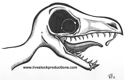 Small toothy cartoon dino with ferocious or mischievous look.