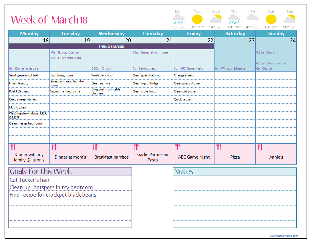 Free printable weekly planner templates for Make a planner online