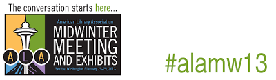 """The conversation starts here"" logo for American Library Association Midwinter Meeting 2013 with #alamw13 hashtag"