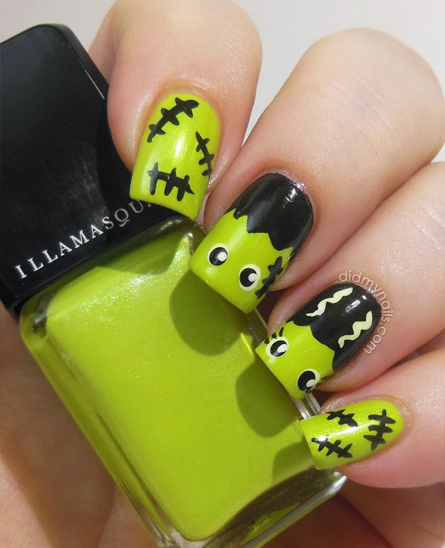 Frankenstein Halloween nail art - Did My Nails: Frank And His Bride On Halloween