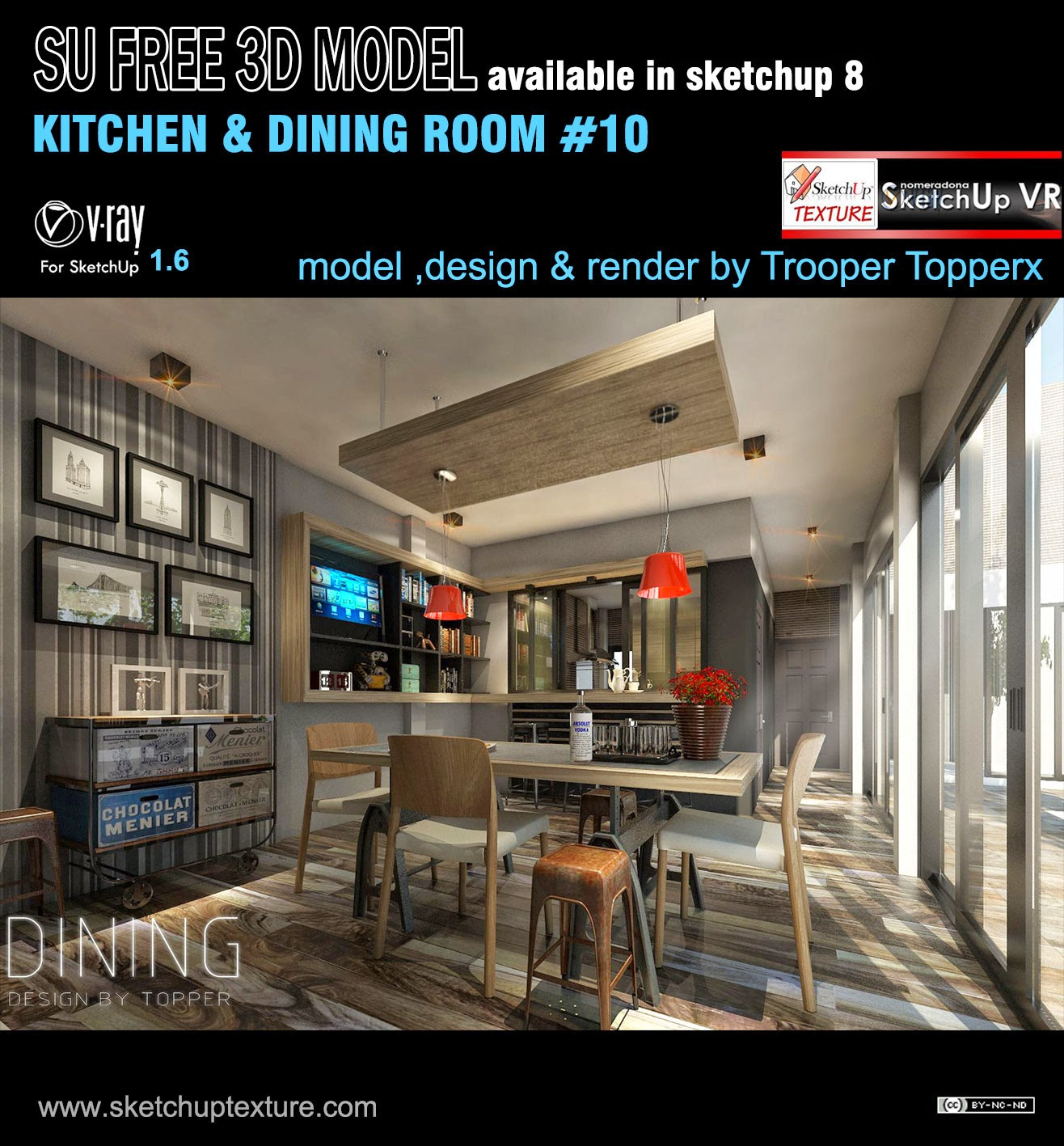 Best free sketchup 3d model kitchen dining room 10 for Kitchen room model
