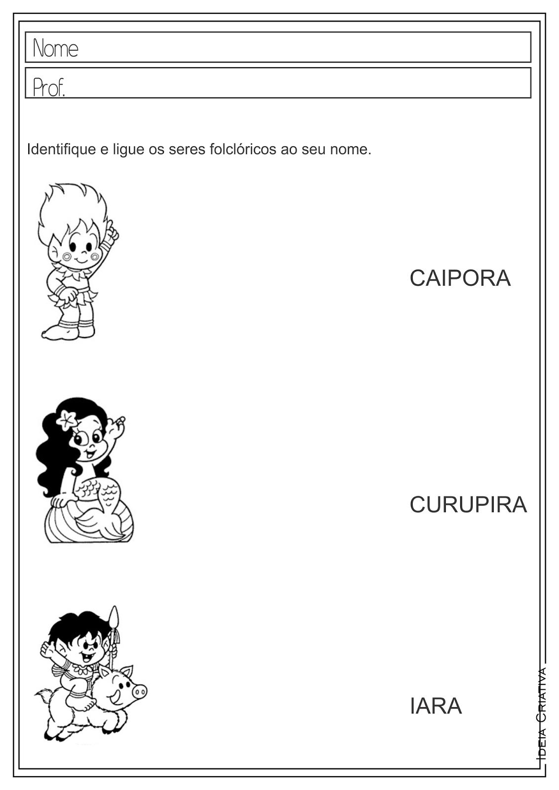 Atividades educativas Folclore para ensino fundamental