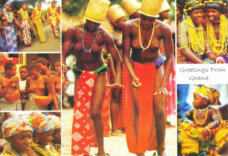 postcard, ghana, manya, yilo krobo, accra, natives, tribes