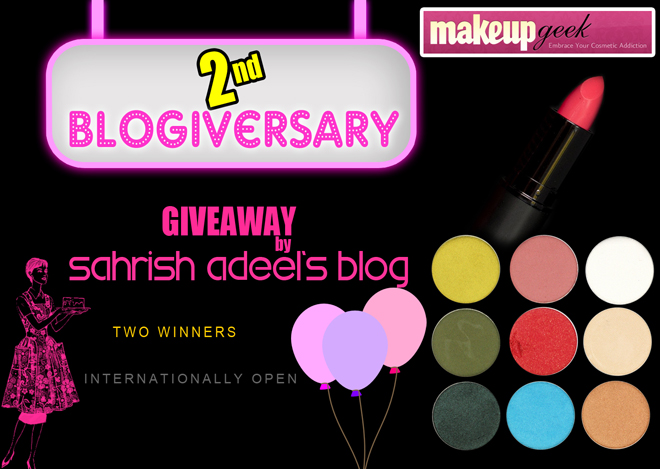 Sahrish Adeel 2nd Blogiversary Giveaway