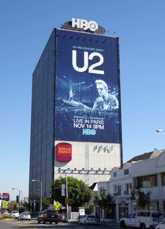 Giant U2 Live in Paris HBO billboard Sunset Strip
