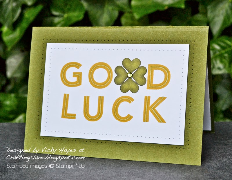 Good luck card made with Metro Type alphabet and Blendabilities available to buy online from independent Stampin' Up demonstrator Vicky Hayes