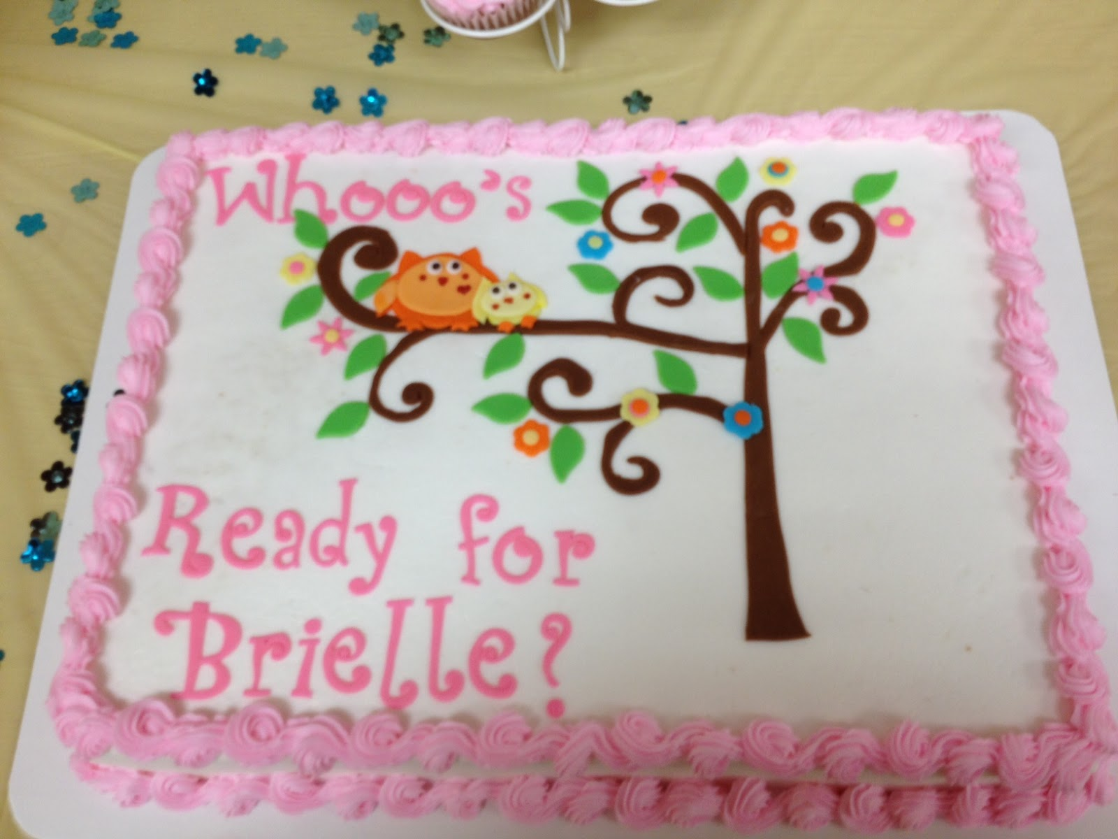 Brielleu0027s Pink Owl Baby Shower Cake
