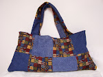 Denim Jean Patchwork Corduroy Cats Tote Bag Purse