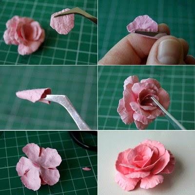 Làm hoa hồng giấy trang trí thiệp thật lãng mạn