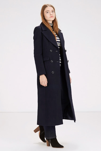 warehouse navy coat, long navy wool coat,