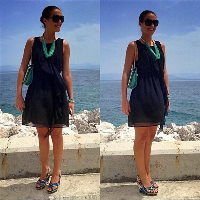 Instagram @lelazivanovic. Little black dress. Best summer looks. Floral wedges.