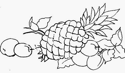 desenho de abacaxi com ameixas para pintar