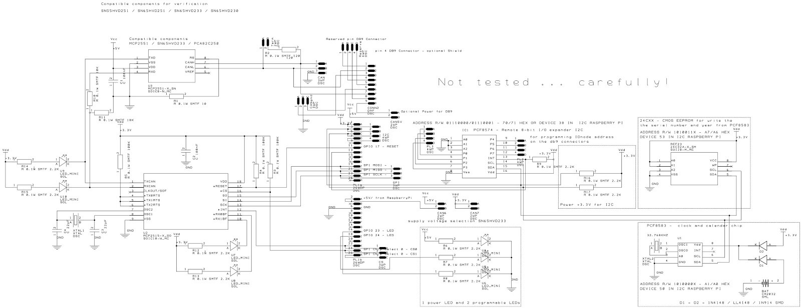 Schematic design of PCB board with all components - version 0.1a =>  modification Revised 0.1