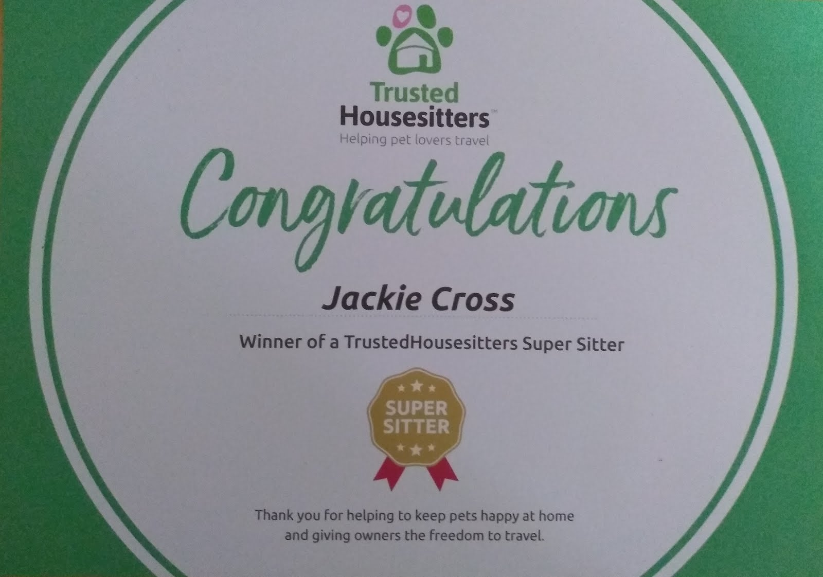 Our Trusted Housesitter 'Super Sitter' Award