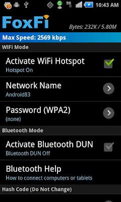 FoxFi (WiFi Tether w/o Root) Apk - Mengubah hp Android menjadi Modem wifi.