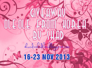http://akuvsdiashadhira.blogspot.com/2013/11/giveaway-ole-ole-from-korea-by-shad.html
