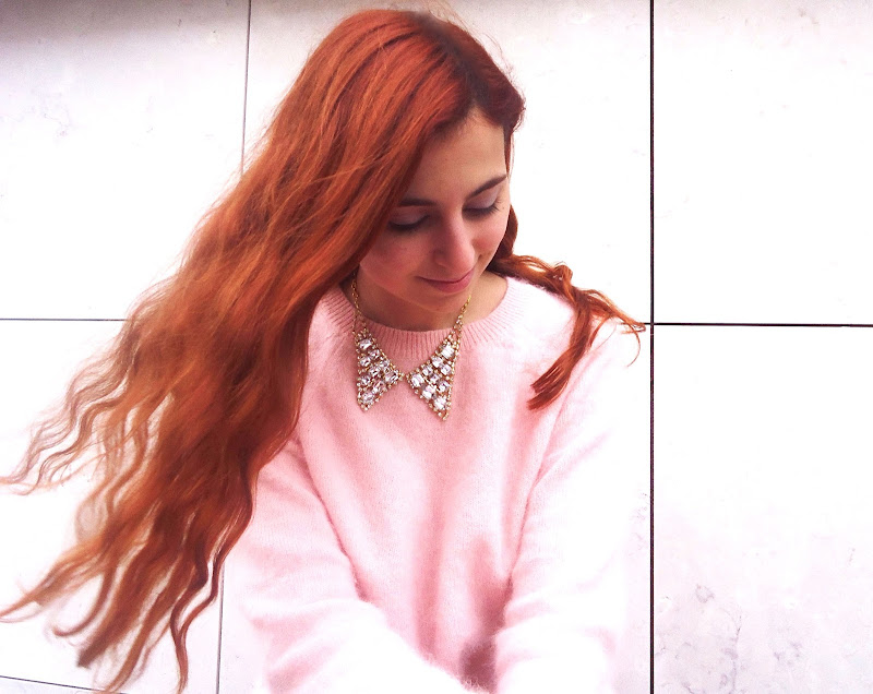 portraid red haired blogger with pink angora sweater and collar necklace