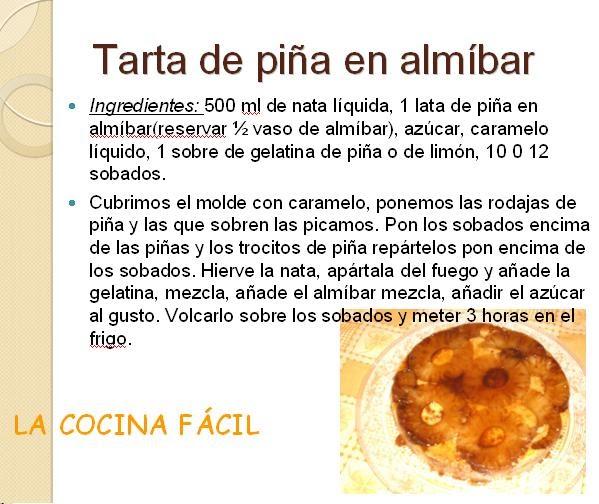 La cocina f cil tarta de pi a en almibar - Como hacer melocoton en almibar ...