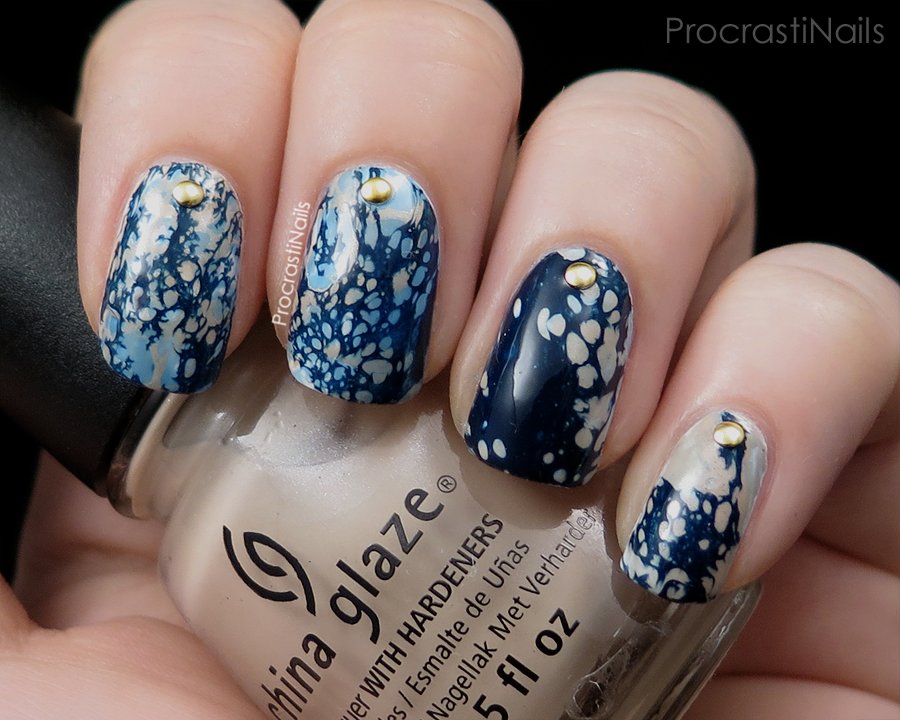 Water spotted nail art with Julep Michelle, China Glaze Electric Beat and China Glaze Don't Honk Your Thorn