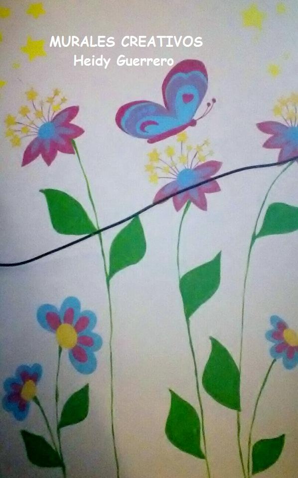 Murales creativos heidy guerrero flores mariposas y el for Mural de flores y mariposas