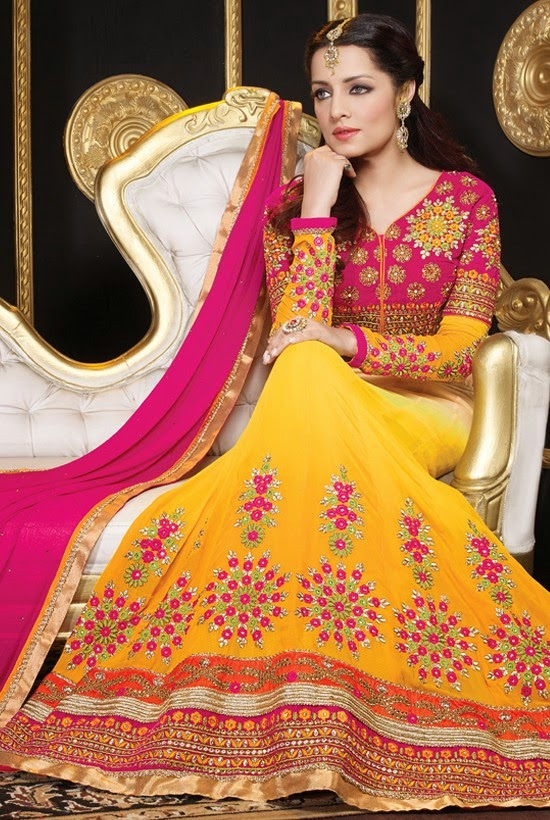 Faux Georgette Yellow Designer Embroidery Anarkali Suit with Dupatta