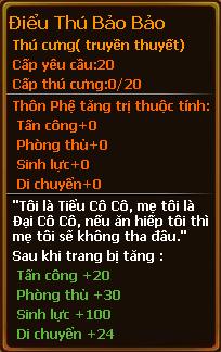Chỉ số pet điểu thú bảo bảo gunbao