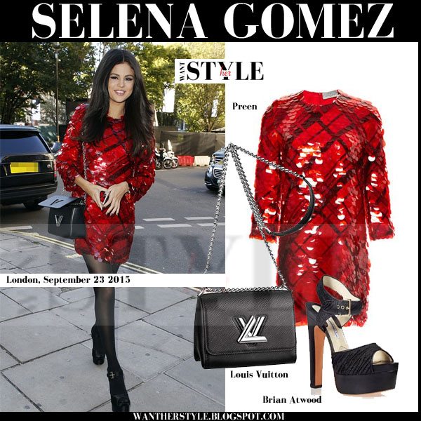 Selena Gomez in red sequin preen arcade mini dress what she wore september 2015