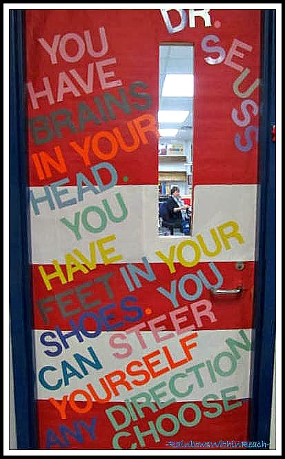 Dr. Seuss Inspired Decorated Classroom Door via Seuss RoundUP at RainbowsWithinReach