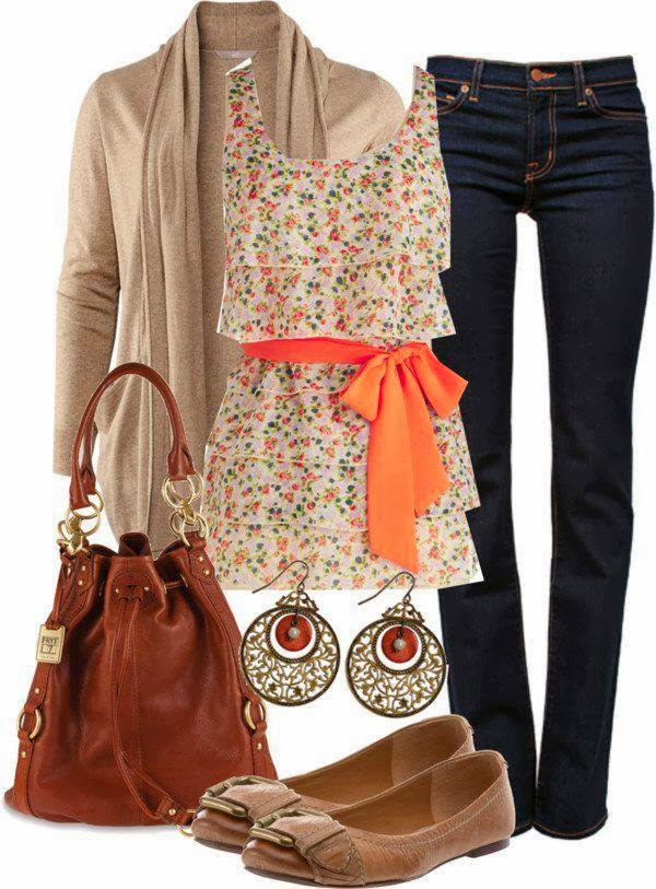 Light brown long cardigan, flowery blouse, pants, handbag and slippers