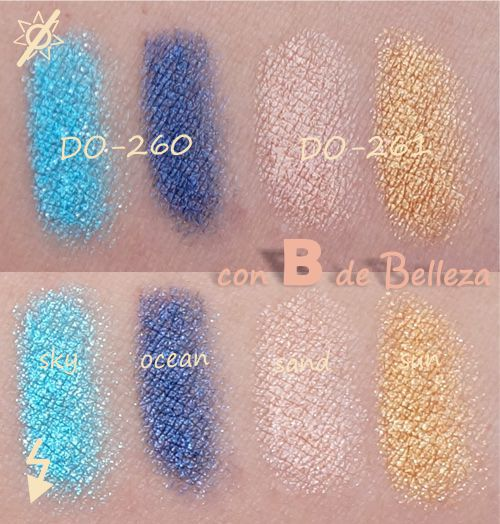 Swatches Sky ocean sand gold