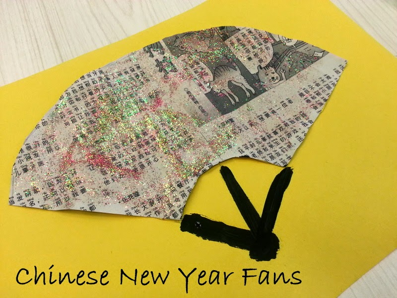 glitter paper fans, paper fan crafts, chinese new year crafts for kids