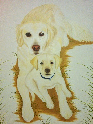Pet portrait of Golden Labrador and Labrador puppy in oil on canvas