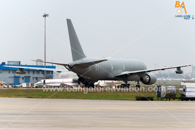 Italian Air Force Tanker KC-767A MM62227 carrying two Italian marines for trial in India lands at New Delhi IGI Airport