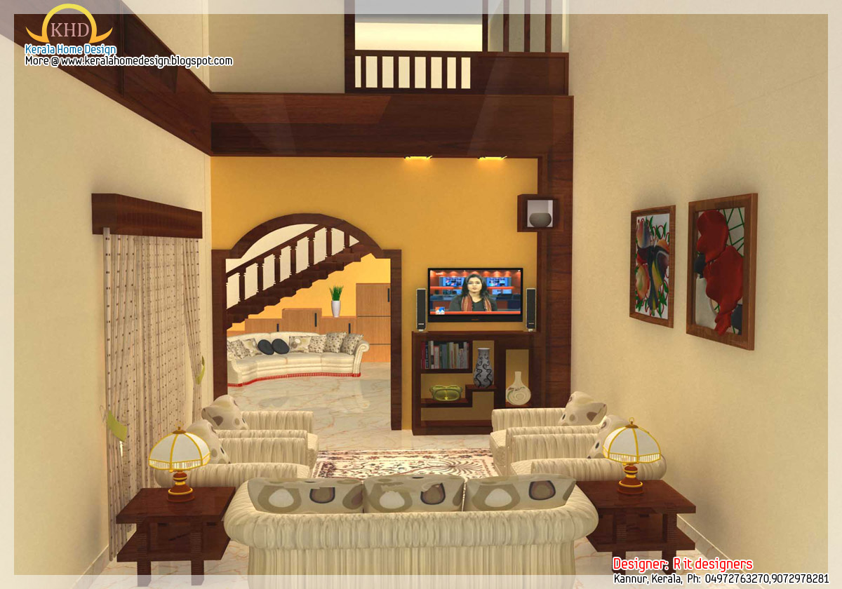 Interior design idea renderings kerala home design and for Living room designs kerala style