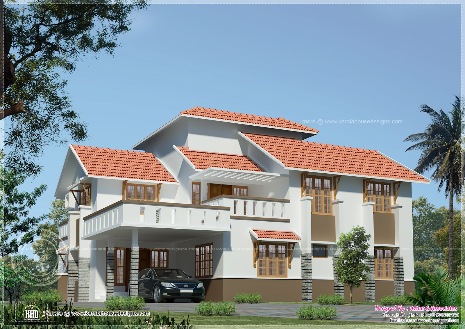 roof style house elevation designed by azhar associates kannur kerala