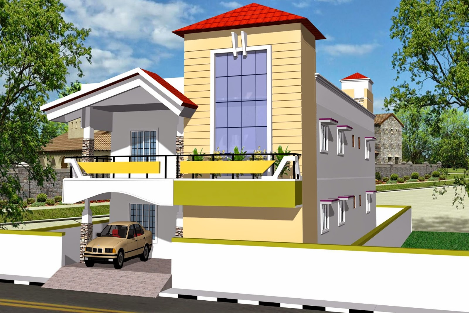Luckydesigners 3d elevation residential building for 3d house builder online
