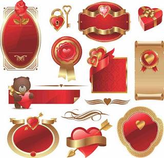 Ícones Romanticos vetorizados
