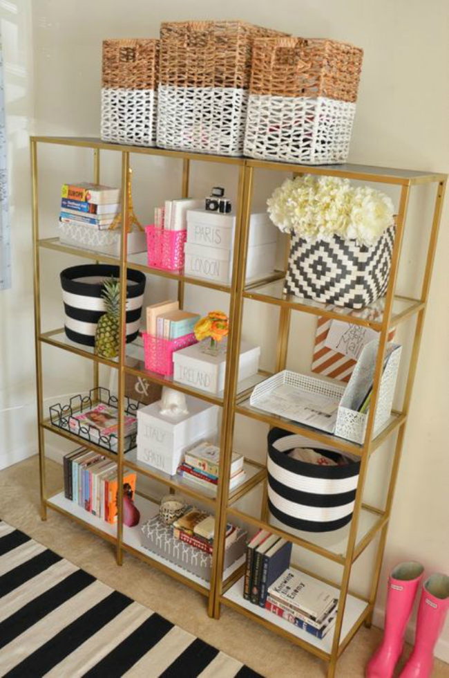 i love these gold shelves while i ultimately chose a credenza where i can hide all of my stuff i thought about getting one of these shelves for an accent - Gold Home Decor