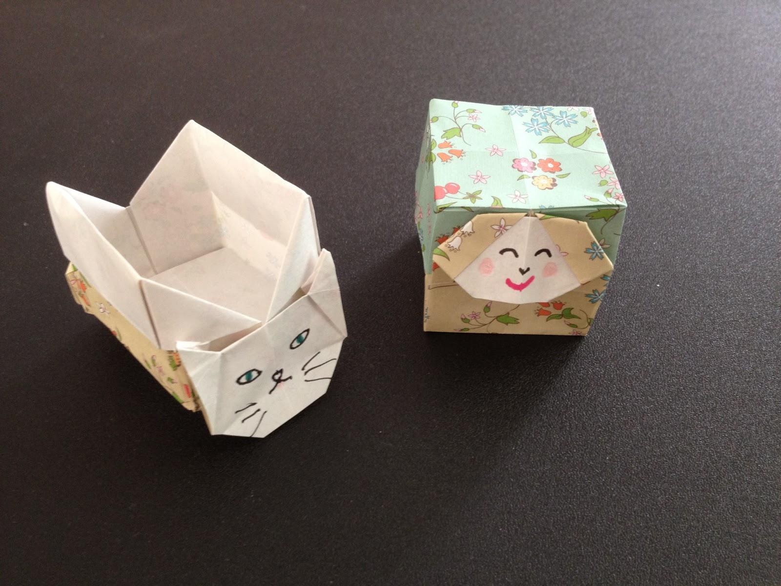 すべての折り紙 折り紙 ハート 鶴 : 猫ちゃんと子度の箱