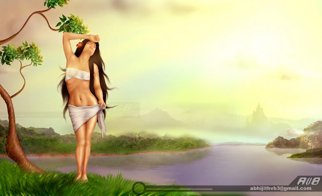 art artist photoshop painting drawing draw software  digital surreal sadness sad  concept abhijithvb abhijith vb avb india kerala woman naked river