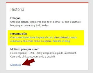 Modificar datos de perfil Google+