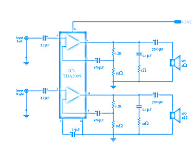 TDA2009 Stereo Hi-Fi Class AB Power Amplifier Circuit Diagram