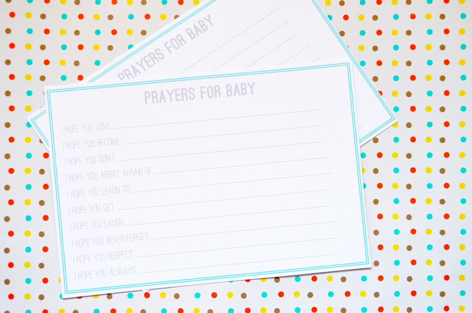 secondhand with style baby shower printable prayer cards