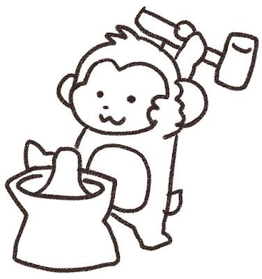 餅つきをする猿のイラスト(申年)モノクロ線画